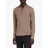 AllSaints Grail Long Sleeve Polo Shirt, Core Grey