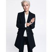 Gillian Anderson Tailored Wool Coat, Dark Navy