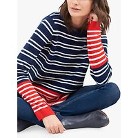 Joules Seaham Chenille Stripe Jumper, Navy/Creme Red