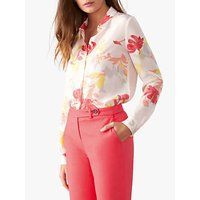 Pure Collection Washed Silk Blouse, Peach Floral