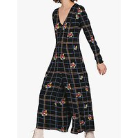 Ghost Bay Check and Floral Culotte Jumpsuit, Black