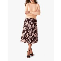 shop for Pure Collection Soft Pleat Skirt, Aubergine/ Purple at Shopo