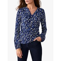Pure Collection Spotted Jersey Wrap Top, Navy
