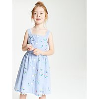 John Lewis & Partners Girls' Stripe Embroidered Dress, Blue
