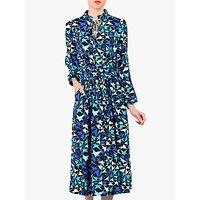 Jolie Moi Star Print Tie Collar Midi Dress, Navy