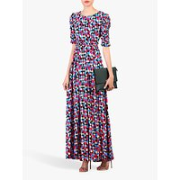 Jolie Moi Geometric Diamond Print Ruched Sleeve Maxi Dress, Pink/Multi