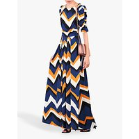 Jolie Moi Geometric Print Ruched Sleeve Maxi Dress
