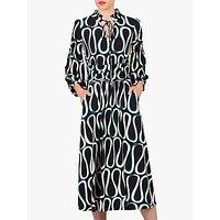 Jolie Moi Abstract Print Tie Collar Midi Dress, Black