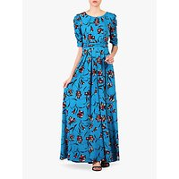 shop for Jolie Moi Floral Print Ruched Sleeve Maxi Dress, Blue at Shopo