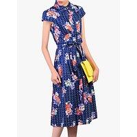 Jolie Moi Floral Spot Print Shirt Dress, Navy