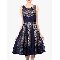 Jolie Moi Contrast Lace Dress, Navy