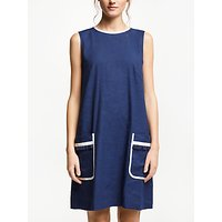 Marella Lined Linen-Cotton Blend Dress, Cornflower Blue