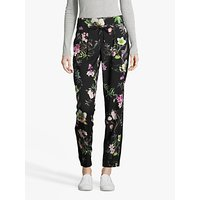 Betty Barclay Floral Print Trousers, Black/Dark Green