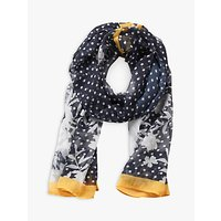 Betty Barclay Polka Dot Scarf, Dark Blue/yellow