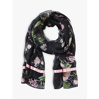 Betty Barclay Floral Print Scarf, Black/dark Green