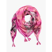 Betty Barclay Sequin Heart Floral Scarf, Grey/rosé