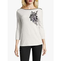 Betty Barclay Sequin Embellished Striped Top, Cream/Dark Blue
