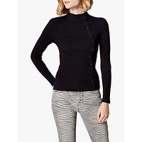 Karen Millen High Neck Button Top, Black
