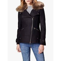 Karen Millen Tailored Aviator Jacket, Navy