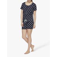 Mamalicious Chill Lia Jersey Top and Shorts Maternity Nursing Pyjamas, Navy Spot