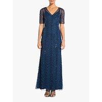 Adrianna Papell Beaded V-Neck Dress, Deep Blue
