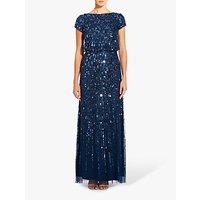 Adrianna Papell Beaded Long Dress, Grey