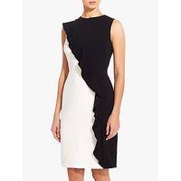 Adrianna Papell Colour Block Ruffle Dress, Black/Ivory