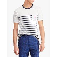 Polo Ralph Lauren Stripe Pocket Short Sleeve T-Shirt, White/New Navy