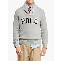 shop for Polo Ralph Lauren Cotton Shawl-Collar Sweater, Andover Grey Heather at Shopo