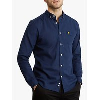 Lyle and Scott Long Sleeve Cotton Linen Shirt, Navy Blue