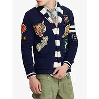 Polo Ralph Lauren Cotton Letterman Cardigan, Navy/Cream