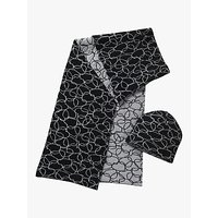 Betty & Co. Scribble Heart Hat And Scarf Set, Black/silver