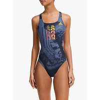 Adidas Athly V Placed Graphic Swimsuit, Legend Ink/active Gold