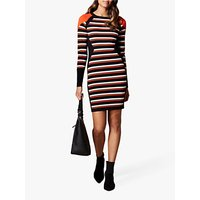 Karen Millen Statement Stripe Bodycon Dress, Orange/Multi