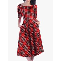Jolie Moi Check Print Swing Dress, Red/Amber