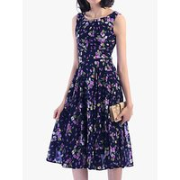 Jolie Moi Floral Print Flared Dress, Navy