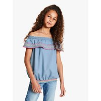 John Lewis & Partners Girls' Embroidered Chambray Top, Blue