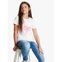 Hype Girls' Splat Logo Print T-Shirt, White/Pink