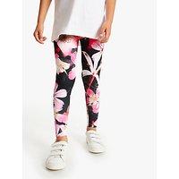 Hype Girls' Flower Print Leggings, Black/Pink