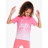 Hype Girls' Dip Dye Logo Print T-Shirt, Pink/White
