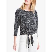 Max Studio Tie Front Jersey Top, Black/Grey