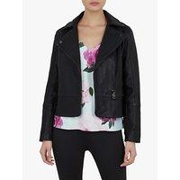 Ted Baker Jomima Leather Biker Jacket, Black