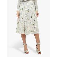 Ted Baker Linnett Pleated Bird Print Skirt, White