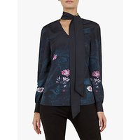 Ted Baker Roysie Floral Tie Neck Blouse, Teal