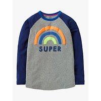 Mini Boden Boys' Raglan Sleeve Super T-Shirt, Grey Marl