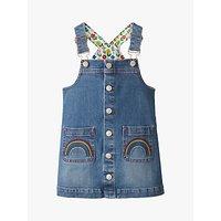 Mini Boden Girls' Button Front Denim Dungaree Dress, Light Vintage Blue