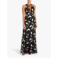 Adrianna Papell Embroidered Sequin Botanical Dress, Blue/Yellow