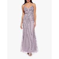 Adrianna Papell Long Beaded Maxi Dress, Lilac Grey