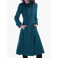 Jolie Moi Double Breasted Flared Coat, Dark Teal