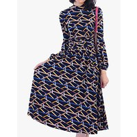 Jolie Moi Funnel Neck Geometric Print Midi Dress, Navy